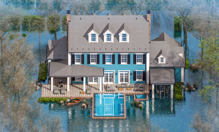 3d rendering of classic house in colonial style in spring water cataclysm. House is experiencing a devastating flood. General evacuation is underway Archivio Fotografico - 165523357