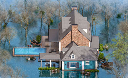3d rendering of classic house in colonial style in spring water cataclysm. House is experiencing a devastating flood. General evacuation is underway Banque d'images