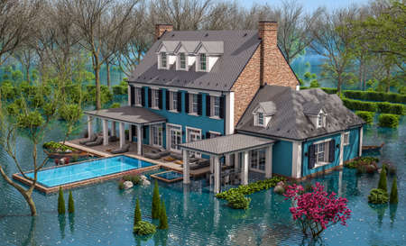 3d rendering of classic house in colonial style in spring water cataclysm. House is experiencing a devastating flood. General evacuation is underway Archivio Fotografico - 165523121