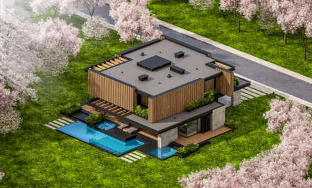 3d rendering of modern cozy house with parking and pool for sale or rent with wood plank facade and beautiful landscaping. Fresh spring day with a blooming trees with flowers of sakura on background Archivio Fotografico - 165513506