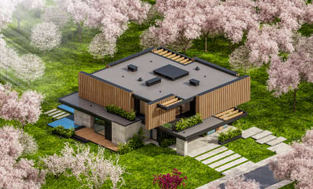 3d rendering of modern cozy house with parking and pool for sale or rent with wood plank facade and beautiful landscaping. Fresh spring day with a blooming trees with flowers of sakura on background Archivio Fotografico - 165514093