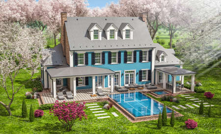 3d rendering of modern cozy classic house in colonial style with garage and pool for sale or rent with beautiful landscaping Fresh spring day with a blooming trees with flowers of sakura on backgraund