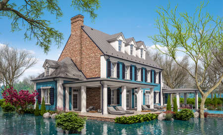 3d rendering of classic house in colonial style in spring water cataclysm. House is experiencing a devastating flood. General evacuation is underway Archivio Fotografico - 165916098