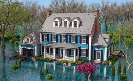 3d rendering of classic house in colonial style in spring water cataclysm. House is experiencing a devastating flood. General evacuation is underway Archivio Fotografico