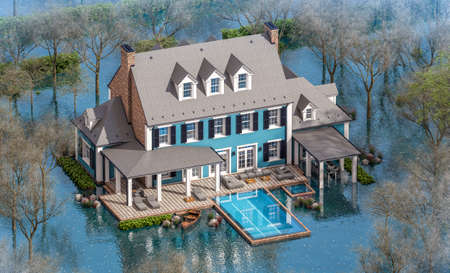 3d rendering of classic house in colonial style in spring water cataclysm. House is experiencing a devastating flood. General evacuation is underway Archivio Fotografico - 165916448