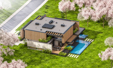 3d rendering of modern cozy house with parking and pool for sale or rent with wood plank facade and beautiful landscaping. Fresh spring day with a blooming trees with flowers of sakura on background