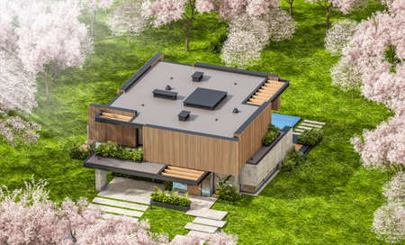 3d rendering of modern cozy house with parking and pool for sale or rent with wood plank facade and beautiful landscaping. Fresh spring day with a blooming trees with flowers of sakura on background Archivio Fotografico - 166006140