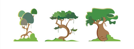 tall grass: set of stylized exotic trees Illustration