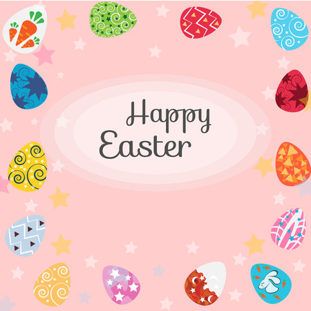 paskha: Happy Easter with eggs, card