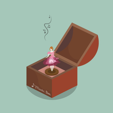 Music box and pretty little doll Illustration