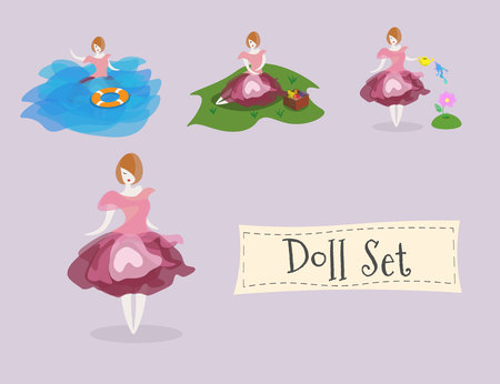 Doll set, she is drowning, watering the garden, and at picnic Illustration