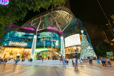 ion: SINGAPORE - NOV 15 : night view of ION Orchard shopping mall on November 15, 2015 in Singapore,decorated with big Christmas tree to celebrate Christmas festival. It has 335 food and retail outlets opened in 2010. Editorial