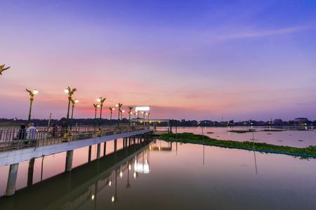 nonthaburi: Thai pier in evening front og  at residence of royalty on Chaophraya river, Wat ku,Pakkret,Thailand Stock Photo