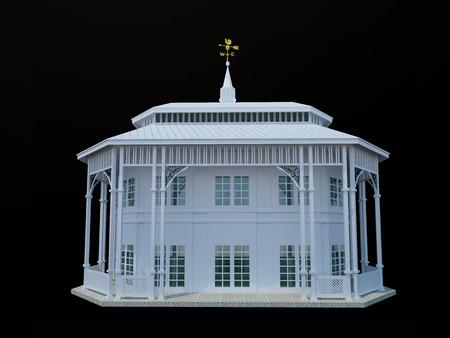 roof shingles: White wooden 2 storey gazebo on black background - 3D illustration