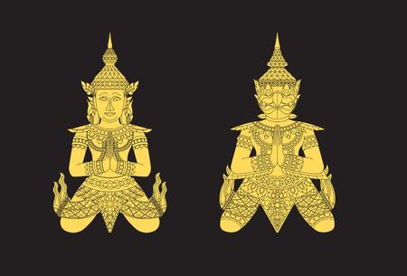 Thai art angle and bird