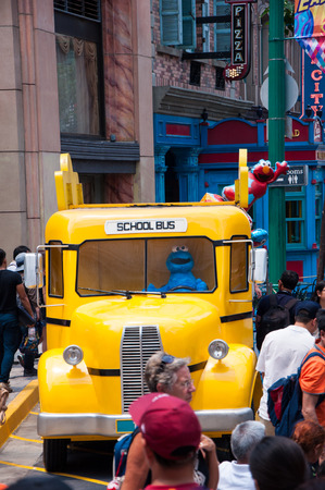 sesame street: SINGAPORE - March 19, 2016 : Sesame street school bus at Universal studio in Singapore