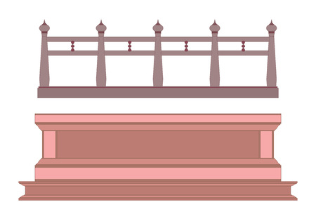 balustrade: Thai style vintage railing and balustrade Illustration