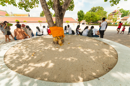 sacrosanct: NAKHON SI tHAMMARAT, THAILAND - APRIL 22, 2016: people sitting under tree in Wat Phra Mahathat Woramahawihan ,the most sacrosanct of Nakhon Si Thammarat , Thailand.