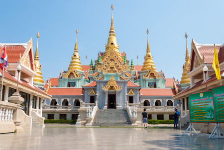 relics: PRACHUAP KHIRI KHAN, THAILAND - April 26, 2016 : Buddhist golden Pagoda of Buddhas relics. Construction of Pakdeeprakat great Buddhas relics Pagoda was completed in 2005