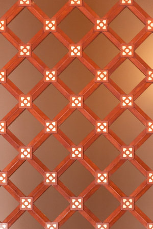 partition: Vintage Pattern of Wood Craft used as a partition to divide rooms or department in Thai traditional temple, it can also be used as a background of display room for any purpose. Stock Photo