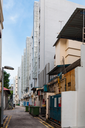back alley: narrow back alley in Singapore city, grunge aged street
