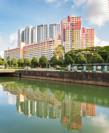 hdb: SINGAPORE - JUNE 25, 2016 : view of the elegant condominiums and HDB  on the Thomson road in Singapore.