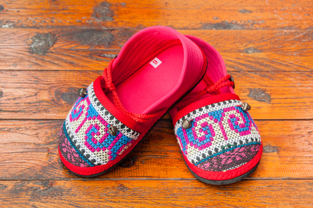 tribe: HMONG Handmade Hill Tribe Childrens Shoes Foto de archivo
