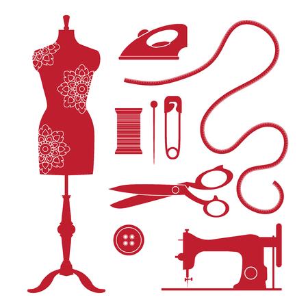 Set Vintage Nähorgane und Embleme. Tailor-Shop im alten Stil