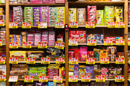 snack food: SINGAPORE - AUGUST 06, 2016: interior of grocery store in Singapore. Singapore is a leading global city in Southeast Asia and the worlds only island city-state.