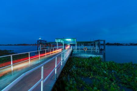 Thai pier by Chaopraya river in morning Stock Photo