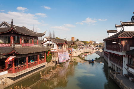 SHANGHAI, CHINA - JANUARY 14, 2017: Newly restored buildings in traditional style in Qibao ancient water town which is a poppular tourist destination in Shanghai.