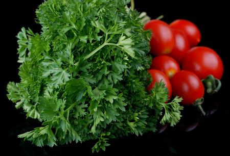 perejil: perejil, tomate Foto de archivo