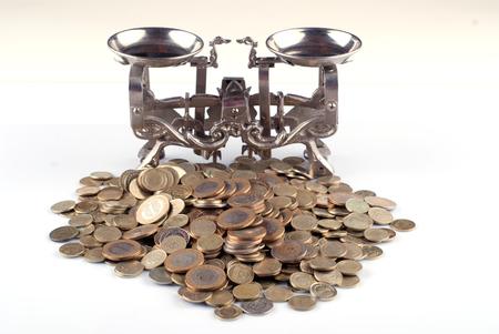 weigh machine: scales coins