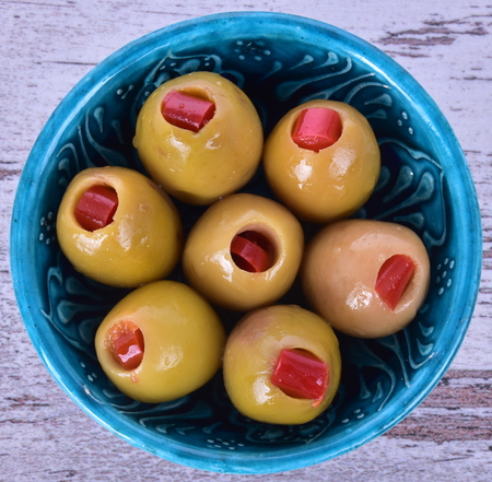 peppery: peppery green olives