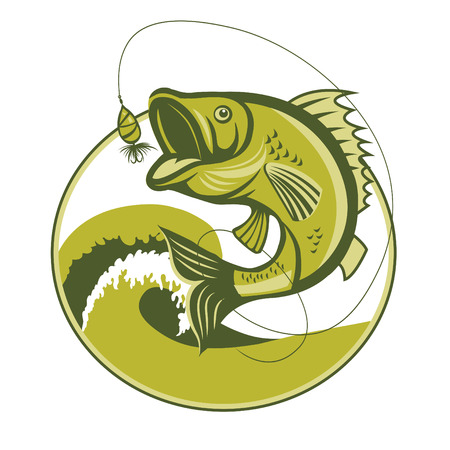 Catching Bass Fish. Fish Jumping With Waves Inside Circle On Isolated White Background.