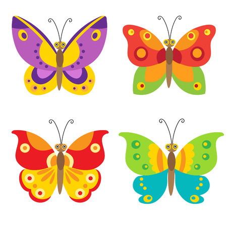 Butterfly simple set icons. Four Colorful Cartoon Butterfly.