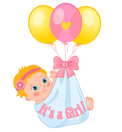 baby girl: Color Balloons Carrying A Cute Baby Girl. Baby Girl Illustration. Illustration