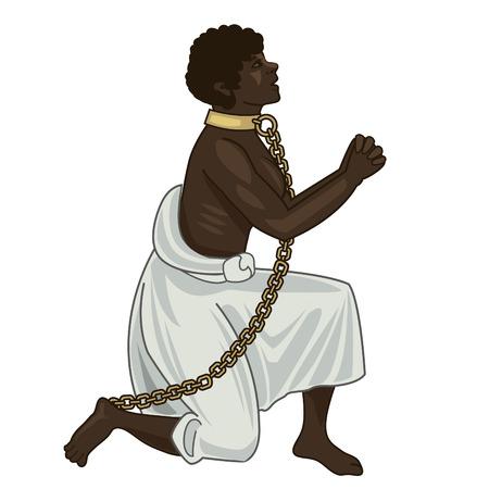 Abolizione della schiavitù. Abolizione della schiavitù Emendamento. Schiavitù Picture. Verso la libertà. Donna in catene. Proprietari di schiavi. Vettore Figura. Donna forte. Voglia di vivere. Vector Illustration: Donna Captive, Schiavo. Vettoriali