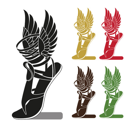 Silhouette Running Shoe With Wings. Symbol Of Trade. Profit Or Sport. Template To Icon, Logo, Print, With Options For Color. Isolated Vector Set. Shoe With Wings Charm. Shoe With Wings Brand.