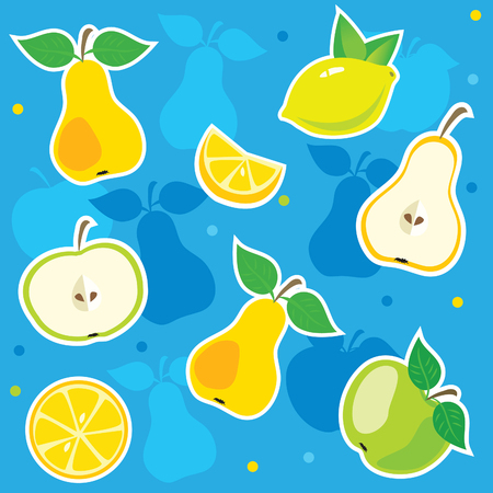 fruit salad: Apple Vector. Vector Pear. Vector Lemon. Vector Fruit. Vector Fruit. Vector Pattern. Fresh Salad. Fruit salad. Vegetarian food. Healthy food. Useful fruit. Fresh fruits. Vector Image. Fresh Vitamins. Illustration