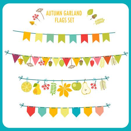 tassel: Autumn Garland And Flags Set. Festive Clip Art. Vector On White Background. Garland Rug. Garland Lights. Garland Decorations. Garland Banner. Garland Flowers. Garland Tassel.