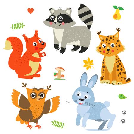 Cartoon Baby Animals Pack. Cute Vector Set: Lynx, Squirrel, Raccoon, Rabbit, Owl. Baby Animals Cute. Baby Animals Playing. Baby Animals Compilation. Baby Animals For Sale. Animals Stickers.