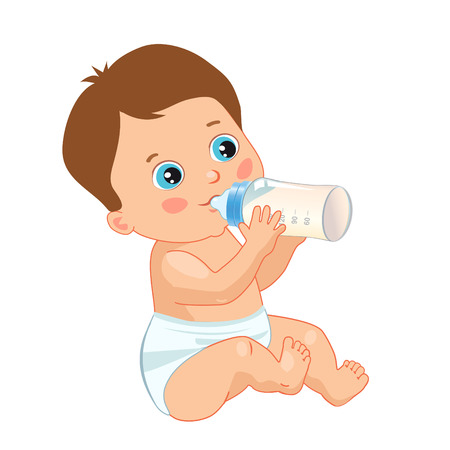 child sitting: Infant Child Baby Toddler Sitting And Drinking From The Feeding Bottle. Cute Baby Boy Drinking Bottle. Vector Isolated On A White Background.
