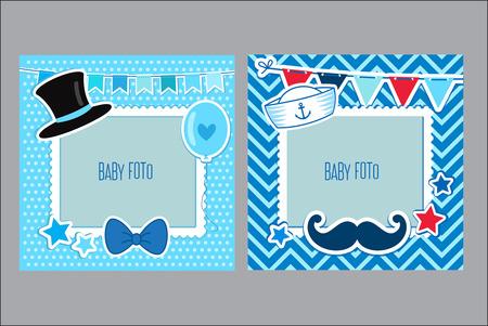 scrapbook frame: Photo Frames For Kids. Decorative Template For Baby Boy. Scrapbook Vector Illustration. Baby Boy Photo Framework. Photo Frames Collage For Boy. Postcard Frame, Child Album.