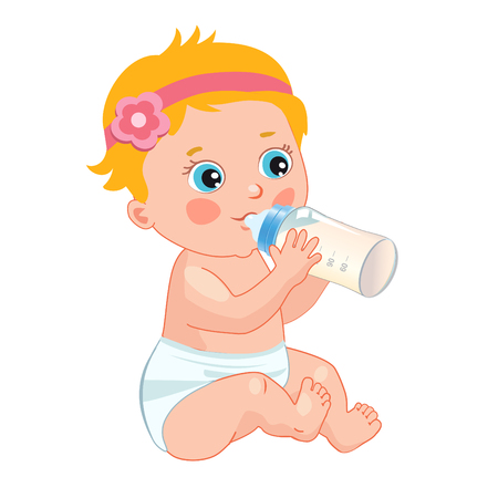 Infant Child Baby Toddler Sitting And Drinking From The Feeding Bottle. Cute Baby Girl Drinking Bottle. Vector Isolated On A White Background.