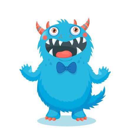 Śliczny Potwór Wektor. Maskotka Kreskówek Maskotka. Ilustracja wektora Funny Fantastic Animals. Twarz Twarzy Kreskówek. Naklejka Cartoon Monster. Ilustracje wektorowe