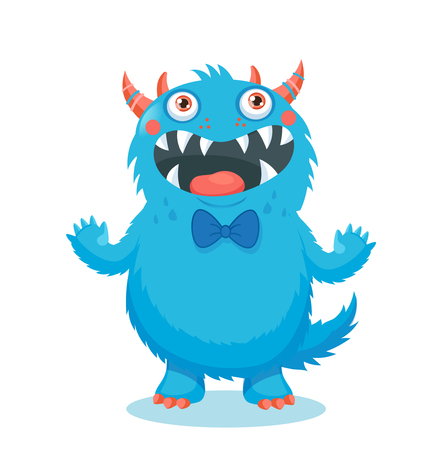 Cute Monster Vector. Cartoon Monster Mascot. Vector Illustration Funny Fantastic Animals. Cartoon Monster Face. Sticker Cartoon Monster.