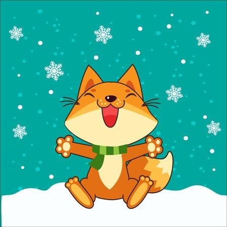 Small Fox. Vector Fox. Fox Sitting. Vector Illustration. Fox In Winter. Snow Falling. Small Fox Plush. Small Fox Stickers. Small Fox Figurine. Small Fox Tail. Small Fox Toy. Small Fox Pet.