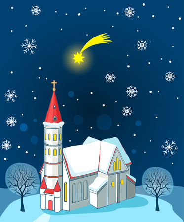 landscape architecture: Christian Church And Christmas Star. Winter Landscape. Vector Illustration Card. Christian Church Near Me. Christian Church Architecture.  Christian Church Organization. Christian Church News. Illustration