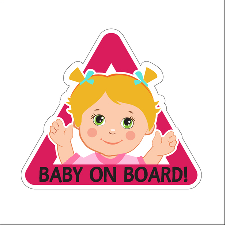 bebe a bordo: Baby Girl On Board. Vector Illustration. Baby On Board. Baby On Board Sign. Car Sign. Girl On Board Sticker. Baby On Board Sticker. Warning Sign. Baby On Board Decal. Baby On Board Magnet.